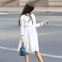 Princess Girls Dress White Lace Dress Long Sleeve Bow Decoration Teenager Children Dress For Summer
