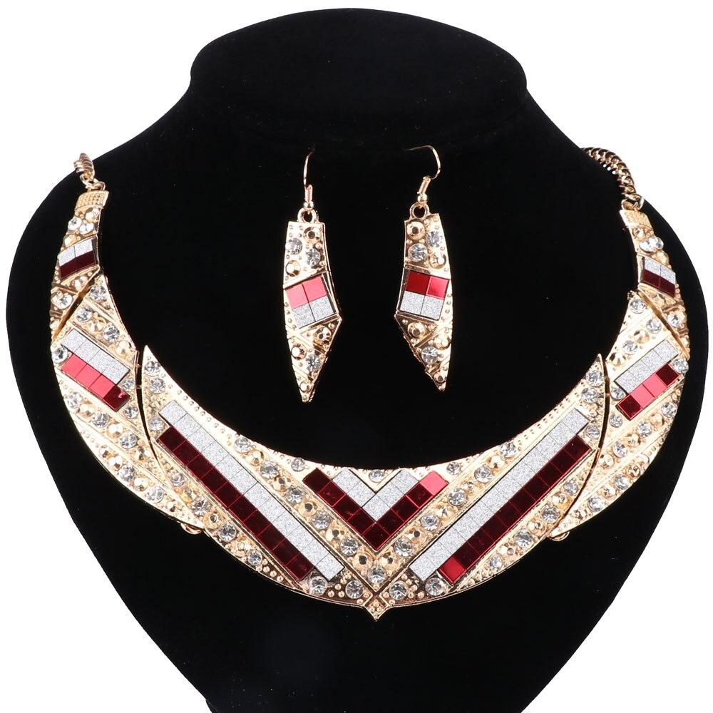 Mujeres cristal colgante collar Pendientes oro color boda Juegos de joyería  para las mujeres vestido africano Accesorios 41869b4108d