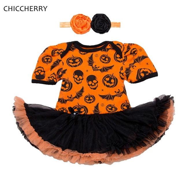 0d5d17076 Skull Bat Pumpkin Halloween Costumes For Baby Girl Party Dress ...