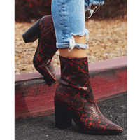 2019 Plus Size Women Boots 11cm High Heels Fetish Stripper Burgundy Ankle Boots Prom Snake Print Block Heels Chunky Red Shoes