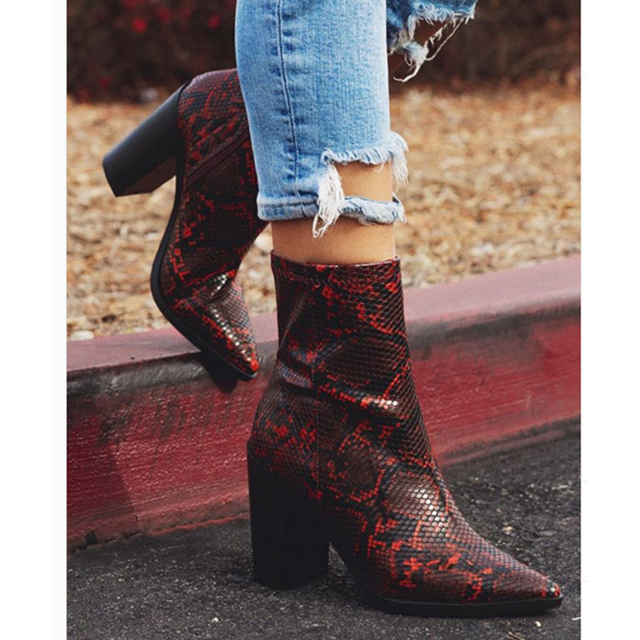 2020 Plus Size Women Boots 11cm High Heels Fetish Stripper Burgundy  Ankle Boots Prom Snake Print Block Heels Chunky Red Shoes