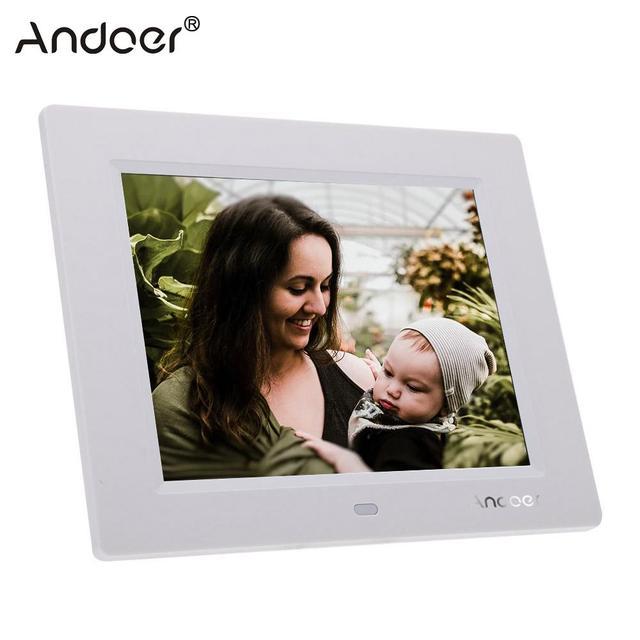 Andoer 8 Ultradunne 1024*600 Hd TFT LCD Digitale Fotolijst Wekker MP3 MP4 Movie Player Met Afstandsbediening desktop