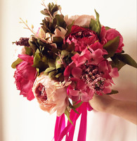 Artificial Peony Flower Bouquet Wedding Bride Bouquet Flower Peony Flowers Pink Color Bridal Bunch