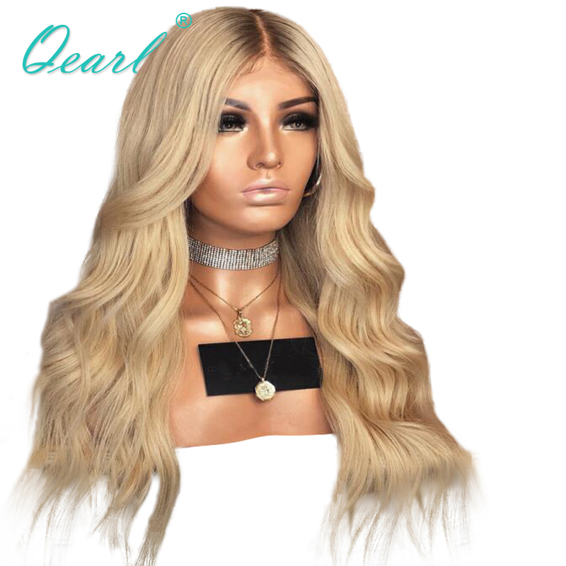 Human Hair Full Lace Wig with Baby Hairs 4 613 Bleach Blonde with brown roots Brazilian