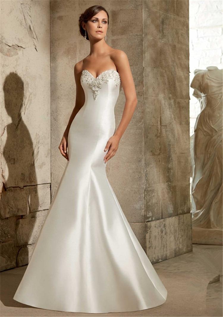 wedding dresses trumpet wedding dresses c satin mermaid wedding dress Elegant Beaded Satin Mermaid Wedding Dress