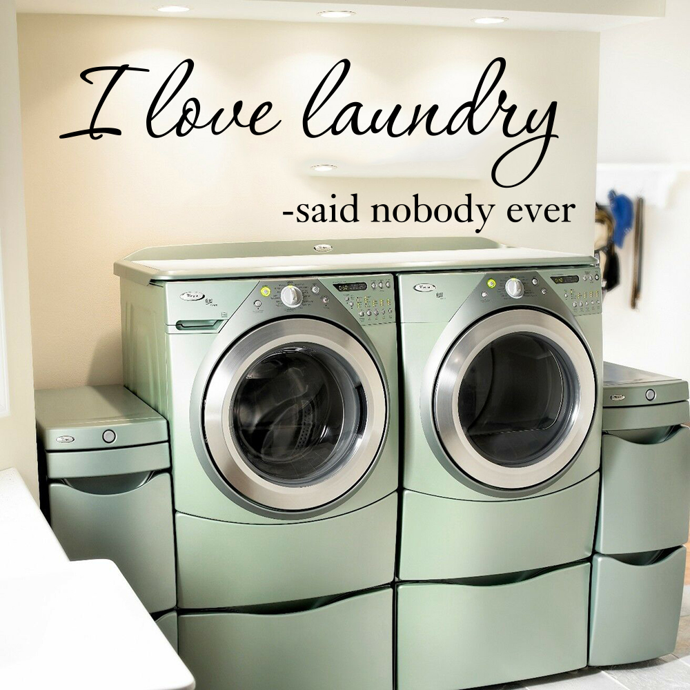 I Love Laundry Said Nobody Ever Quote Wall Sticker Laundry Room Wash Room Family Love Quote Wall Decal Bathroom Vinyl Decor image