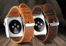 GOOSUU Rétro brun Café bracelet en cuir & Classique en acier inoxydable fermoir Bande Pour apple watch 42mm 38mm Bracelet