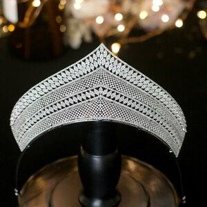 Image 3 - Wysokiej jakości cyrkonia ślubna ozdoba na głowę akcesoria dla nowożeńców ślubne akcesoria do włosów prezent