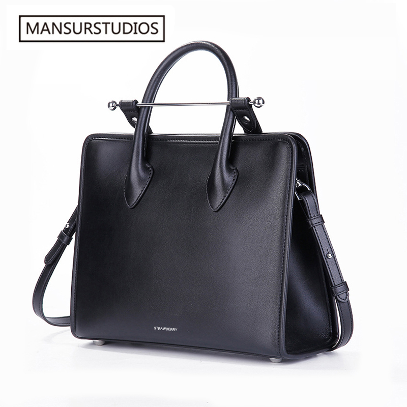 Mansurstudios women fashion genuine leather briefcase famous real leather crossbody bag shoulder bag free shipping
