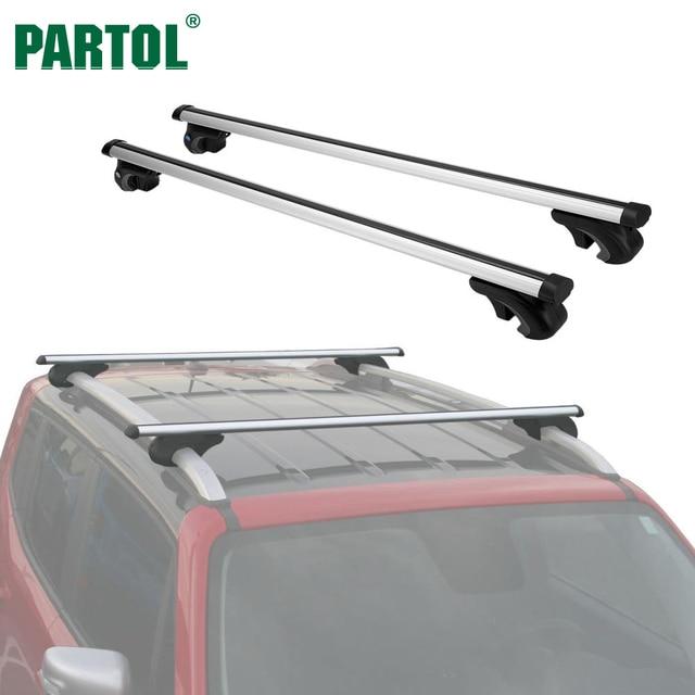 Partol Universal 123CM Car Roof Rack Cross Bars Crossbars W Anti Theft  Aluminum 68 Kg