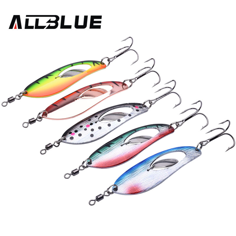 ALLBLUE Metal Fishing Lure 5pcs/lot Spoon Lure Spinner Bait Fishing Tackle Hard Bait Spinner Bait Isca Artificial Peche bammax fishing lure 1 box metal iron hard bait sequins shore jigging spoon lures fishing connector pin fishing accessories pesca