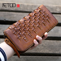 AETOO Large capacity original handmade leather wallet men and women casual retro leather wallet Japanese style hipster long
