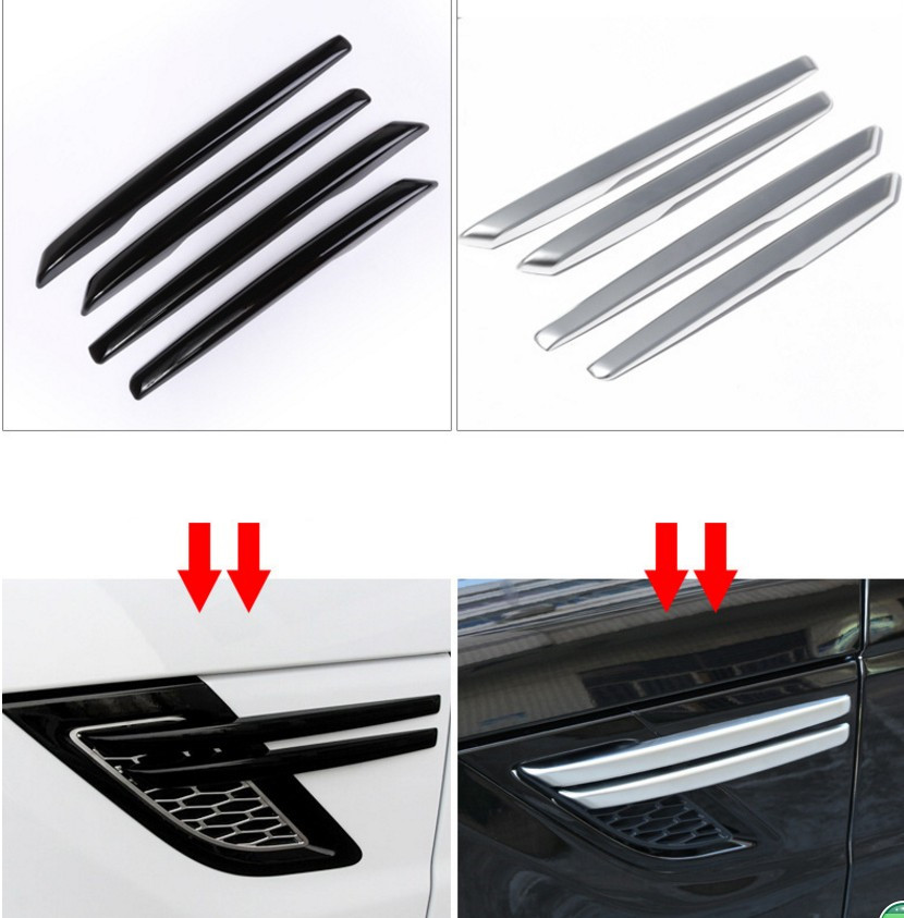 4Pcs Black silver Strip Car Side Air Intake Vent Grille Fender Wing Styling Sticker Fit For 14-2015 Range Rover Sport silver black side fender sticker for land rover range rover evoque 2011 2016 abs chrome car accessories