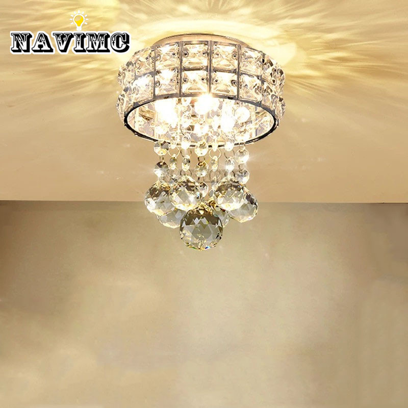 цена на Modern Small Crystal Ceiling Lights Porch Light Corridors LED Ceiling Lamp Hallway Bedroom Children's Girls' Room Lamp Light