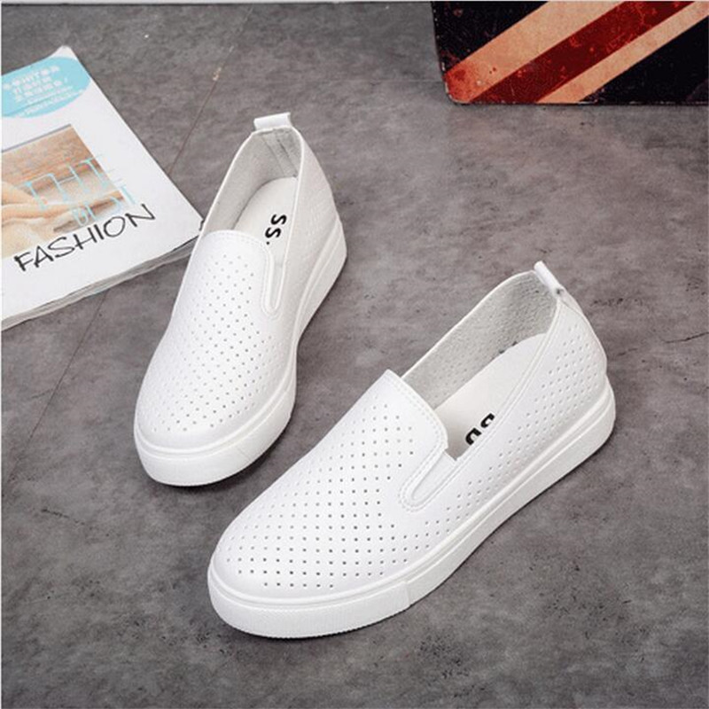 Women Casual Shoes Solid Soft Leather Flats Slip-on Low Top Round Toe Thick Sole Lazy Loafers Hollow Breathable Simple Shoes stainless steel manual push self turning stirrer egg beater whisk mixer kitchen wholesale price