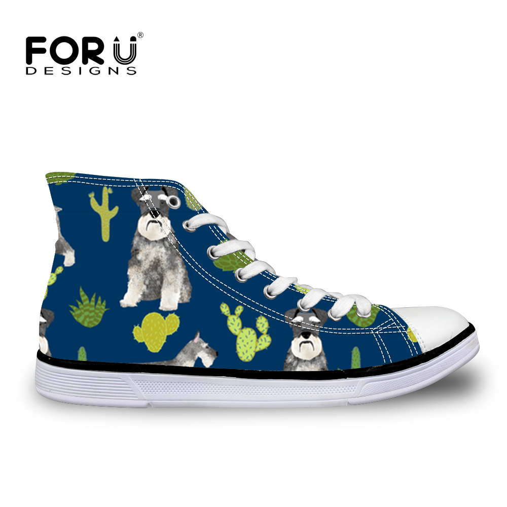 FORUDESIGNS 2018 Women Vulcanize Shoes Schnauzer Printed for Ladies Casual Shoes Lace-Up High Top Canvas Shoes Sneakers Woman forudesigns sneakers geometry dash pattern high top shoes woman classic lace up vulcanize shoes autumn students light mesh flats