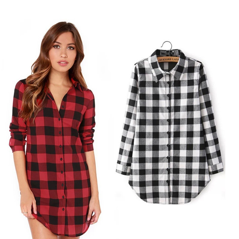 Plaid Shirt Flannel Shirt Women Blouses Long Sleeve Black And Red ...