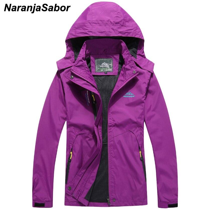 NaranjaSabor 2018 Women's Spring Autumn Casual Solid Jackets Breathable Windbreakers Women Waterproof Coats Female Overcoats 4XL
