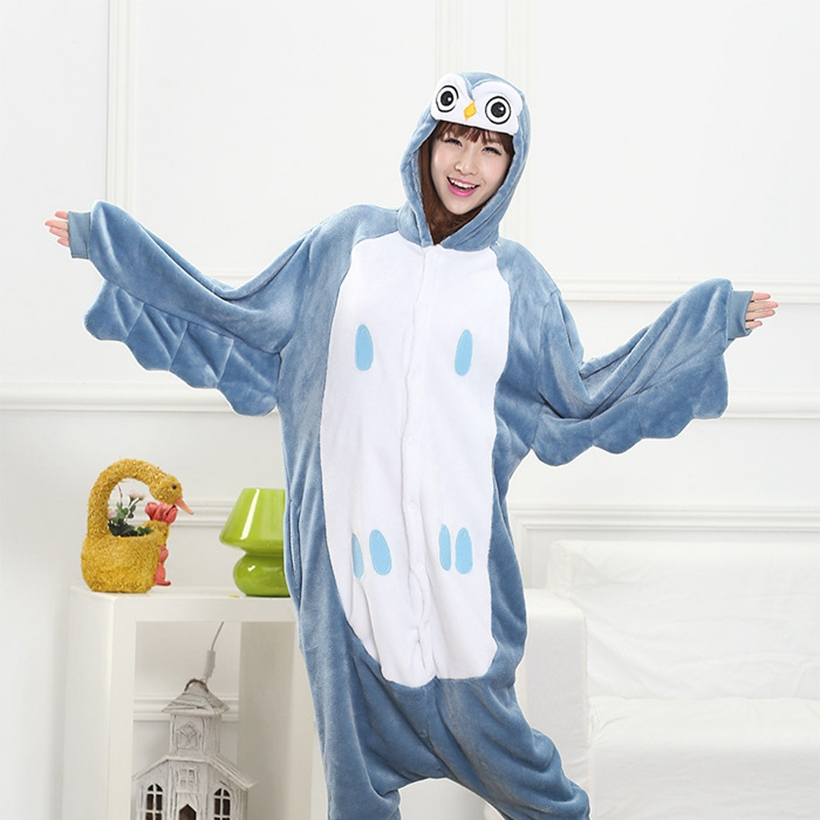 Blue OWL   Pajama     Set   Women Men Unisex Adult Animal Pijama Flannel Onesie Cosplay Sleepwear Hoodie Halloween Holiday Costume