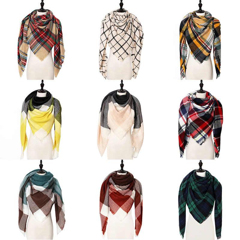 Bufanda de mujer de invierno de diseñador a cuadros bufandas de Cachemira calientes chales de marca de lujo de mujer Pashmina bufanda señora manta envolturas 2019