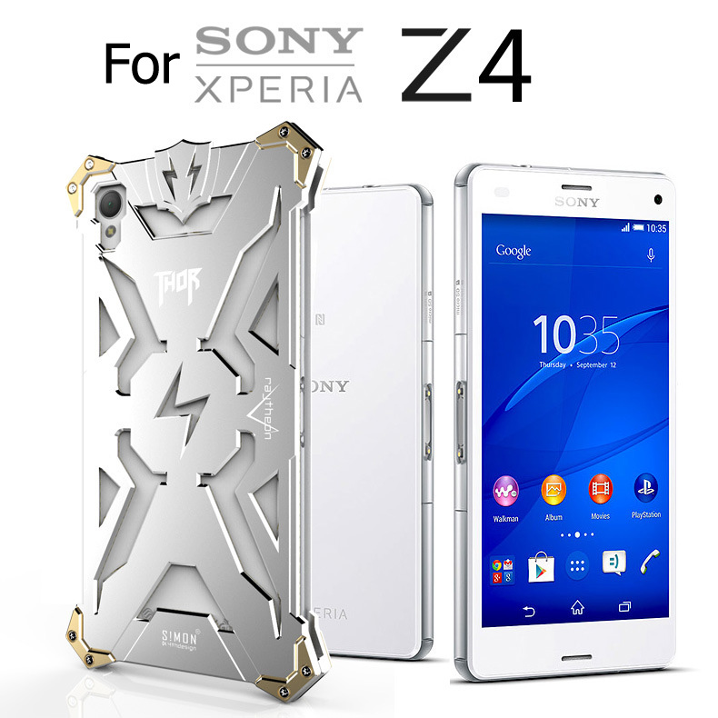 Original Simon Powerful Shockproof Screw Ironman Metal case for Sony Xperia Z3+ Z4 Aluminum Phone Cases With Retail Box