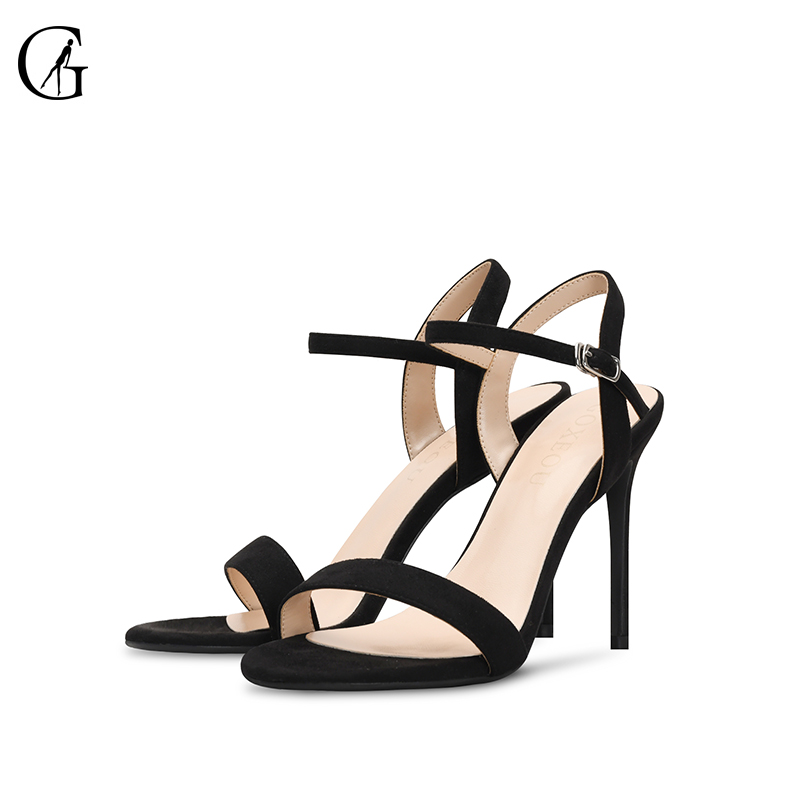 GOXEOU 2019 New Fashion Women Sandals size32 46 Thin Heel High Heels Sexy Summer Lace up