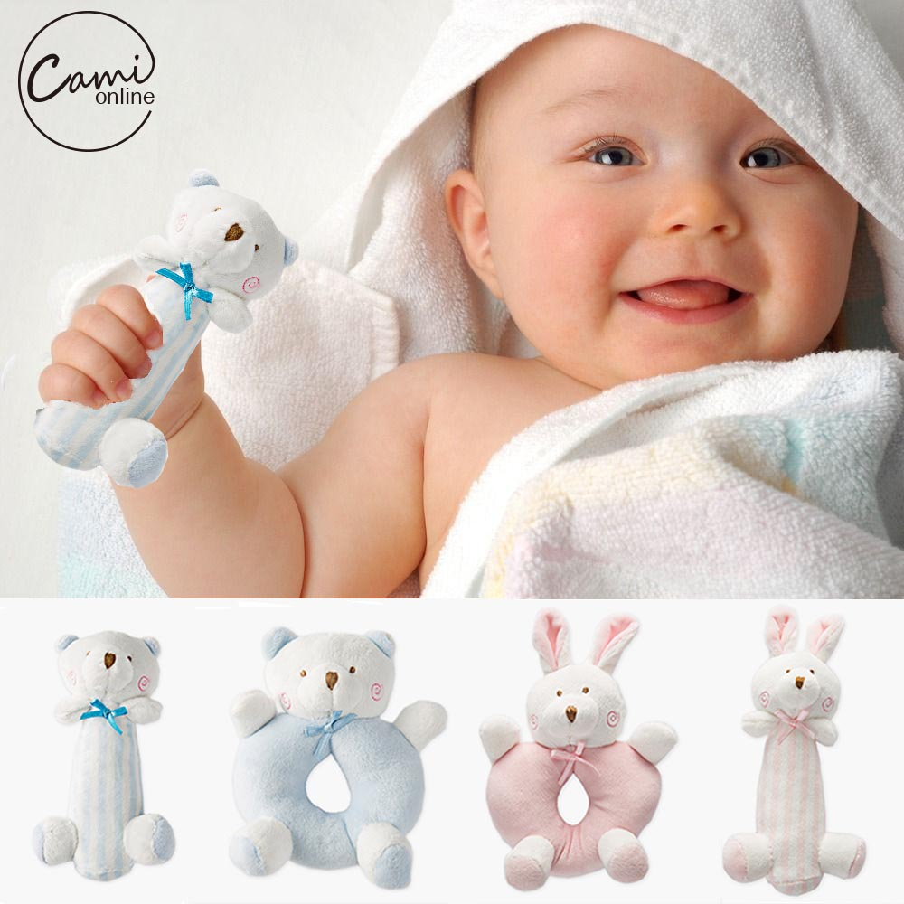 Newborn Baby Toys : Baby cartoon rabbit bear plush rattle ring bell newborn