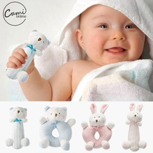 Baby Cartoon Rabbit Bear Plush Rattle Ring Bell Newborn Hand Grasp Toys Soft Mobile Infant Crib Dolls peluche hochet brinquedos