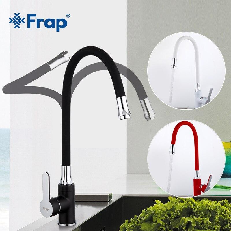 Frap New White Black Flexible Kitchen Sink Faucet Brass 360 Degree Rotation Torneira Cozinha Water Tap