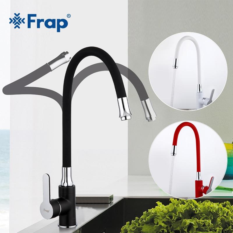 Robinet de cuisine FRAP style moderne flexible évier de cuisine mitigeur robinet robinets poignée unique rouge blanc noir couleur eau froide et chaude