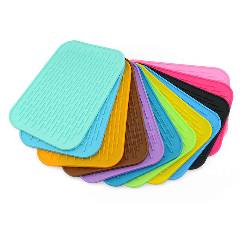 1 pc Heat Resistant Can Opener Non-slip Mat Table Placemat Coaster Kitchen Sink Mat Dishes Cup Dry Mat Rack Silicone Pot Holder