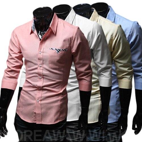 2014 Beliebte Design Vier Reine Farbe Großhandel Männer Schlagen Casual Herrenhemd Spezielle Tasche Langarm Tuen-down-kragen Unten Kragen Mann Shirts