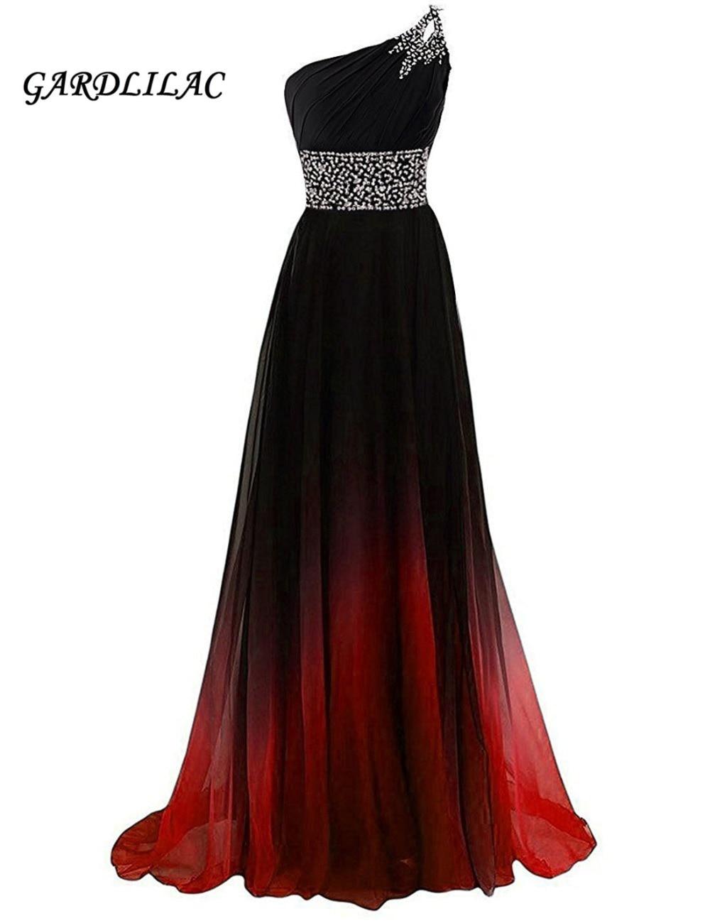 One-Shoulder Ombre Evening Dresses Vestido Longo Beaded Prom Dress 2019 Gradient Chiffon Prom Long Elegant Dress Plus Size