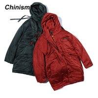 CHINISM одноцветное Цвет толстые длинные пальто Для мужчин свободные красный темно зеленые зимние теплые длинные пальто куртка модная верхняя
