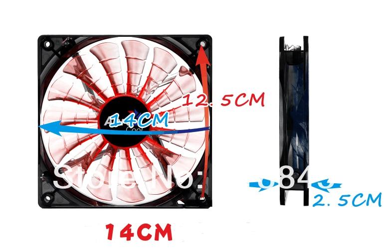Wholesale LED Aerocool 12V 4Pin 3Pin 140mm x 25mm 14025 Cool Fashion 15 Shark fin leaves Mute PC Case System Cooling Fan aerocool 15 blade 1 56w mute model computer cpu cooling fan black 12 x 12cm 7v