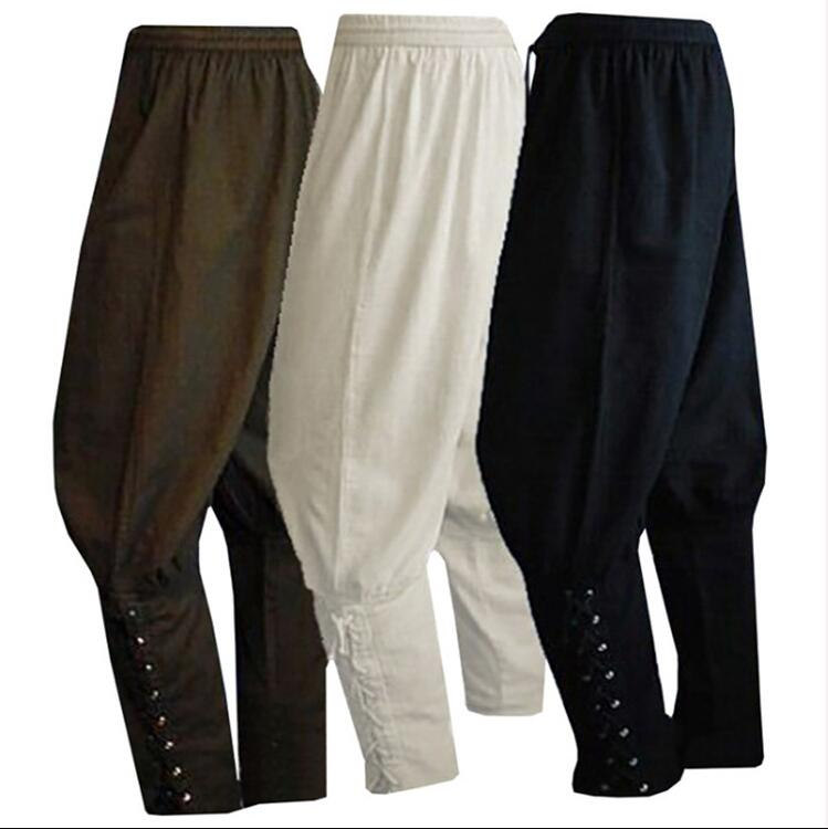 Adult Men Medieval Renaissance Lounge Pirate Horseman Costume Loose Pants Viking Black Brown Navigator Leg Bandage Trouser XXXL