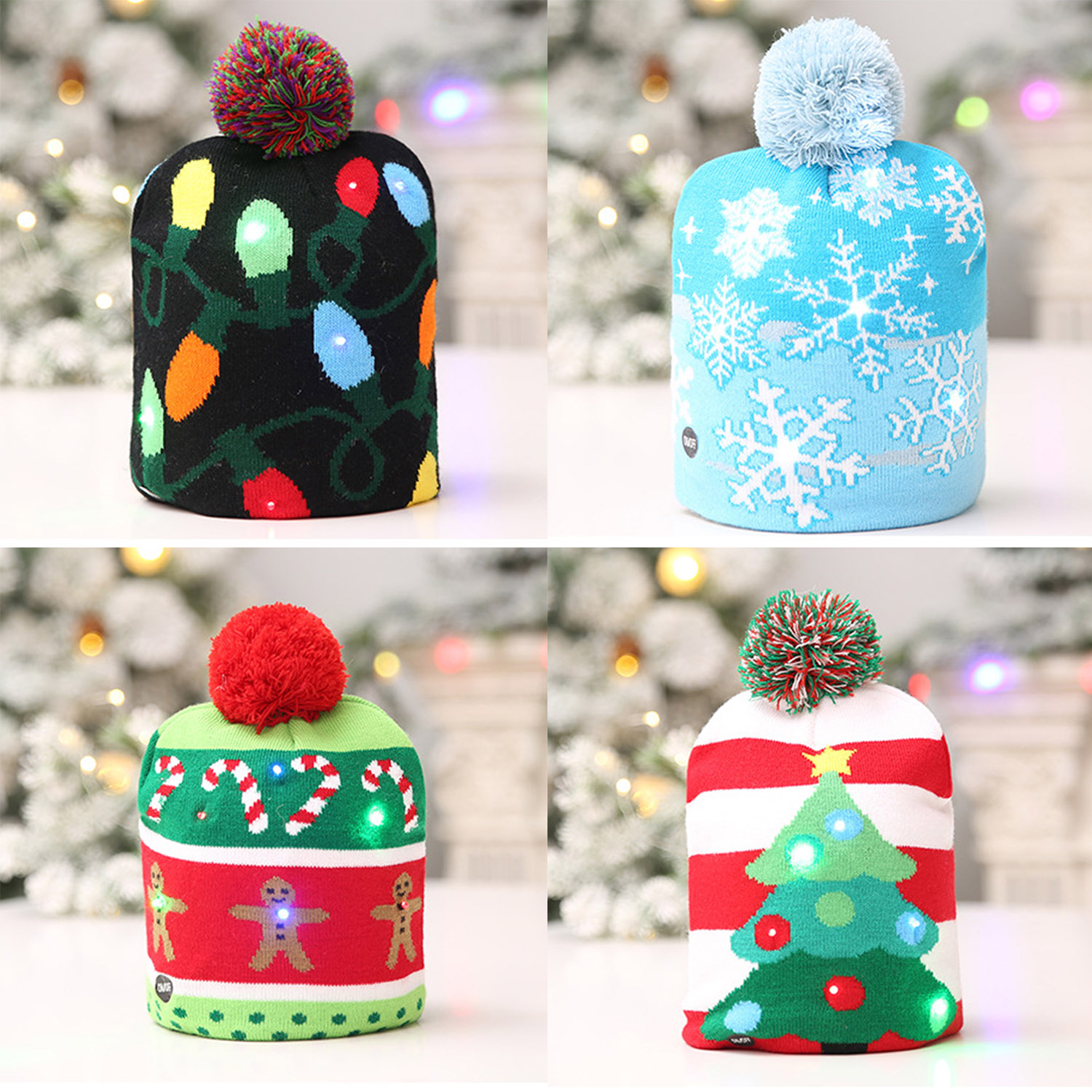 Creative Cute Unisex Fashion Warm LED Christmas Winter Knitted Knitting Hat Adults Kids Party Carnival Celebration Toys Gifts