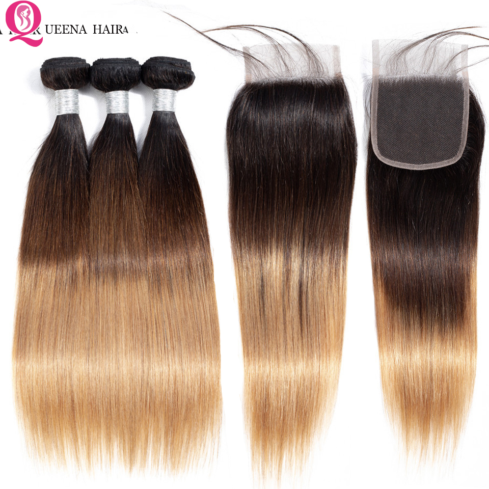Straight Ombre Human Hair Bundles With Closure Remy Queena 1B/4/27 Beauty Colored Brazilian Straight Hair Bundles With Closure