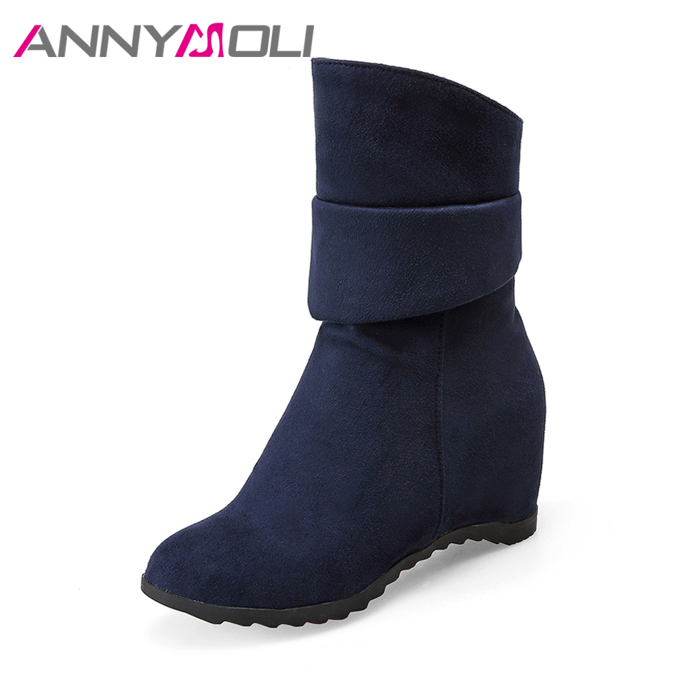 ANNYMOLI Winter Shoes Women Mid-Calf Boots Hidden High Heel Boots Platform Wedges Boots Ladies Handmade Shoes Big Size 9 42 43
