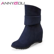 ANNYMOLI buty zimowe kobiety połowy łydki buty ukryte buty na buty na wysokim obcasie buty na koturnie buty damskie ręcznie robione buty duży rozmiar 9 42 43 tanie tanio Dla dorosłych Krótki pluszowe Zima Pasuje prawda na wymiar weź swój normalny rozmiar Flock Slip-on 0-3 cm 2017 boots 23