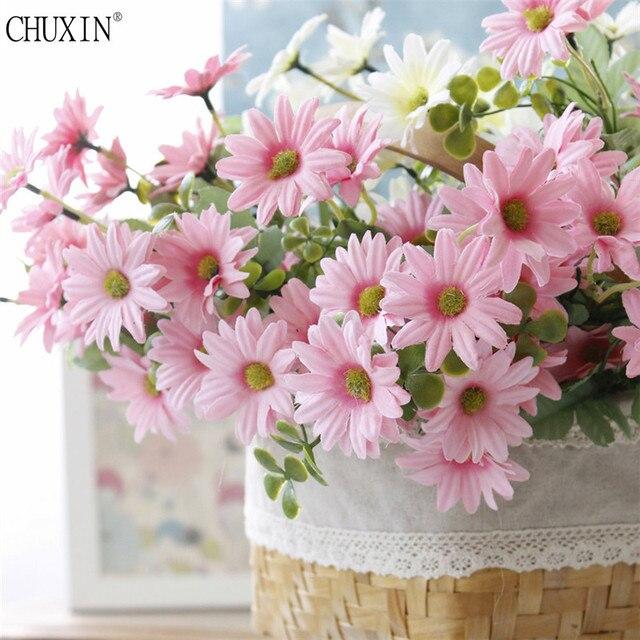 Aliexpress Buy 7 Foliage Daisy Silk Fabric High Simulation