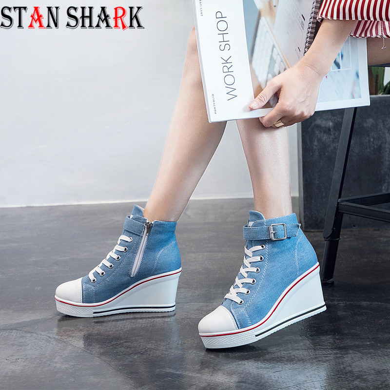 2019 New Spring Autumn Side Zipper High Thick Platform High-top Canvas Shoes Womens Cake with 8cm Heels Casual Canvas shoes2019 New Spring Autumn Side Zipper High Thick Platform High-top Canvas Shoes Womens Cake with 8cm Heels Casual Canvas shoes