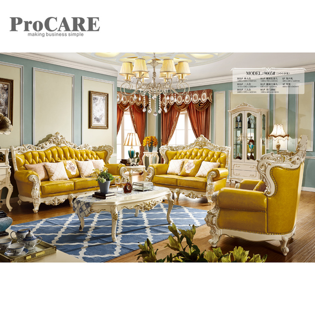 US $4399.0 |living room furniture new model sectional yellow leather sofa  sets pictures 9005-in Living Room Sets from Furniture on Aliexpress.com |  ...