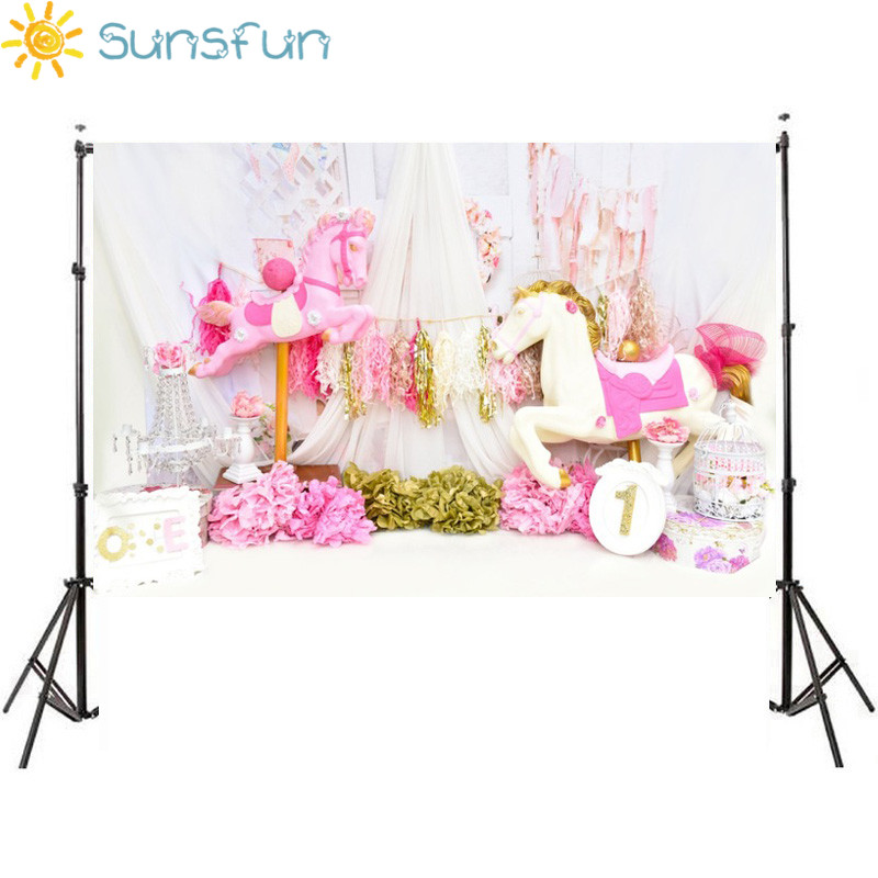 Sunsfun 7x5FT Pink Flowers Drape Unicorn Birthday Party Baby Shower Custom Photo Studio Backdrop Background Banner Vinyl 220x150 sensfun where the wild things are dessert table backdrops custom photo studio backdrop background vinyl 7x5ft
