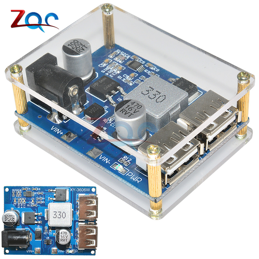 DC-DC DC 9V 12V 24V 36V to 5V 5A Dual USB Output Buck Converter Power Supply Module Power Step Down Board with Acrylic Case