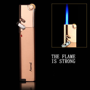 Image 3 - Compact Jet Lighter Gas Torch Turbo Lighter Strip Windproof All Metal Cigar Lighter 1300 C Butane Gadgets For Man