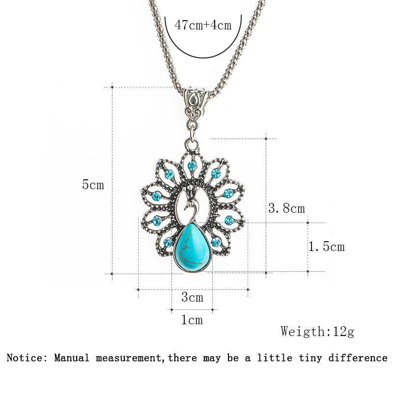 SHUANGR Vintage หินธรรมชาติสีฟ้านกยูงจี้ Retro Chain คริสตัลสร้อยคอสัตว์ Bohemian เครื่องประดับ Bijoux Femme