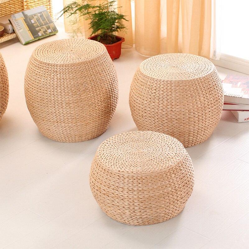 25%, Natürliche Stroh Handgemachte Kissen Wohnzimmer Runde Tatami Holz Ändern Schuhe Hocker Kleine Kaffee Tisch Holz Bank