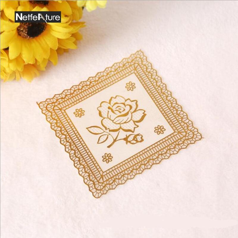 12PCS Square PVC Bronzing Rose Cup Mat Table Decoration Pad Non Slip  Resistant Heat Small
