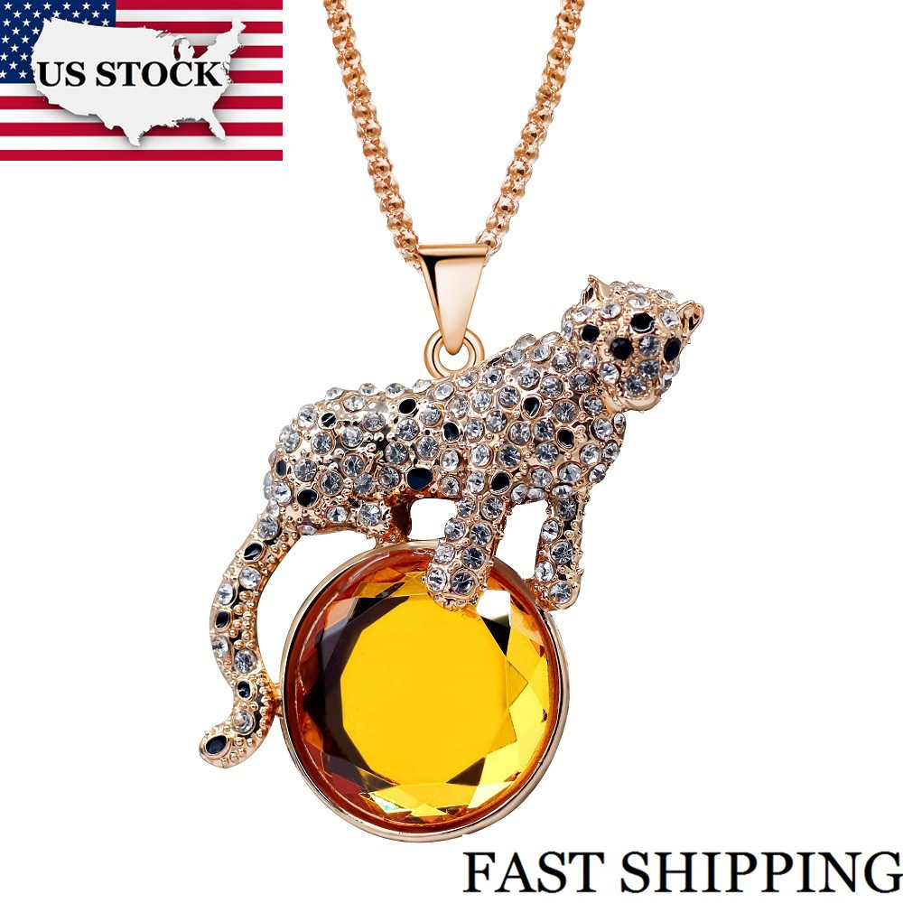 US STOCK Uloveido Charm Big Black White Leopard Rising Sun Enamel Long Sweater Chain Crystal Animal Pendant Necklace Gift YS842